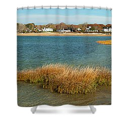 Autumn On The Bass River Shower Curtain by Michelle Wiarda