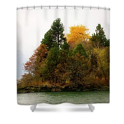 Shower Curtain featuring the photograph Autumn On The Columbia by Albert Seger