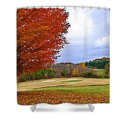 Autumn On The Golf Course Shower Curtain by Susan Leggett