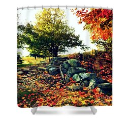 Shower Curtain featuring the painting Autumn Orchard by Janine Riley