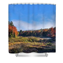 Shower Curtain featuring the photograph Autumn Panorama At The Green Bridge by David Patterson