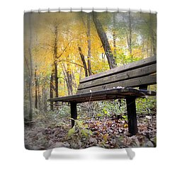 Autumn Park Bench Shower Curtain