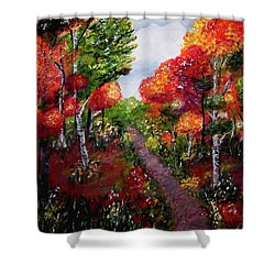 Shower Curtain featuring the painting Autumn Path by Sonya Nancy Capling-Bacle