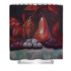 Autumn Pear With Grapes Shower Curtain