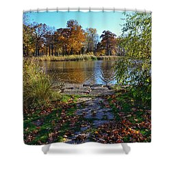Shower Curtain featuring the photograph Autumn Pond by Nikki McInnes