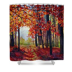 Shower Curtain featuring the painting Autumn Rapture by Hailey E Herrera