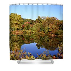Shower Curtain featuring the photograph Autumn Reflection by Angie Tirado