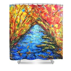 Autumn Reflections 2 Shower Curtain by Rae Chichilnitsky