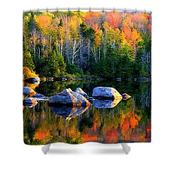 'autumn Reflections - Noyes Pond' Shower Curtain