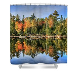 Shower Curtain featuring the photograph Autumn Reflections Of Maine by Shelley Neff