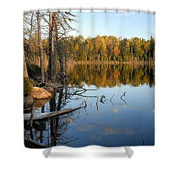 Autumn Reflections On Little Bass Lake Shower Curtain
