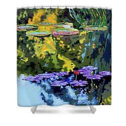 Autumn Reflections On The Pond Shower Curtain by John Lautermilch