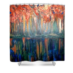 Shower Curtain featuring the painting Autumn Reflections by Rae Chichilnitsky