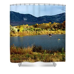 Autumn Rest Stop For Canadian Geese Shower Curtain