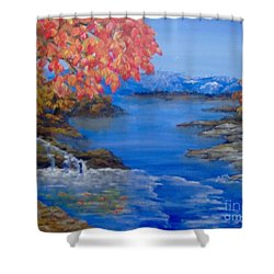 Shower Curtain featuring the painting Autumn by Saundra Johnson
