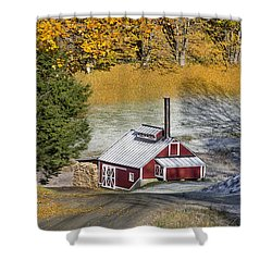 Shower Curtain featuring the photograph Autumn Snow On Sugar Shack, Reading, Vt by Betty Denise