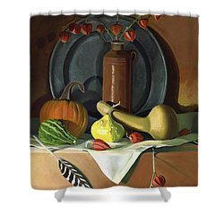 Shower Curtain featuring the painting Autumn Still Life by Nancy Griswold