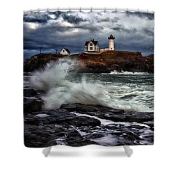 Autumn Storm At Cape Neddick Shower Curtain by Rick Berk