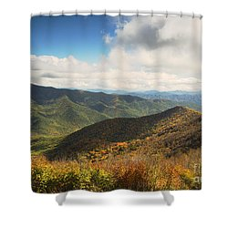Autumn Storm Clouds Blue Ridge Parkway Shower Curtain by Nature Scapes Fine Art