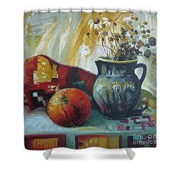 Shower Curtain featuring the painting Autumn Story by Elena Oleniuc