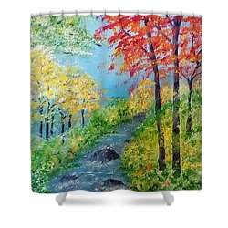 Shower Curtain featuring the painting Autumn Stream by Sonya Nancy Capling-Bacle