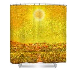 Shower Curtain featuring the digital art Golden Sunlit Path - Marin California by Joel Bruce Wallach