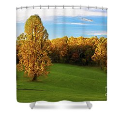 Autumn Sunrise On A Blue Ridge Meadow Ap Shower Curtain by Dan Carmichael