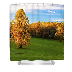 Autumn Sunrise On A Blue Ridge Meadow Shower Curtain by Dan Carmichael