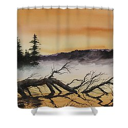 Shower Curtain featuring the painting Autumn Sunset Mist by James Williamson