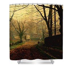 Autumn Sunshine Stapleton Parknear Pontefract  Shower Curtain by John Atkinson Grimshaw