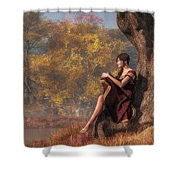Shower Curtain featuring the digital art Autumn Thoughts by Daniel Eskridge