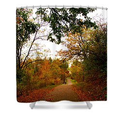 Shower Curtain featuring the photograph Autumn Trail by Michael Rucker