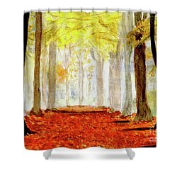 Shower Curtain featuring the painting Autumn Trail by Yoshiko Mishina