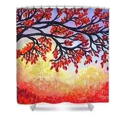 Shower Curtain featuring the painting Autumn Tree by Sonya Nancy Capling-Bacle