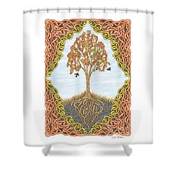 Autumn Tree With Knotted Roots And Knotted Border Shower Curtain by Lise Winne