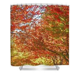 Autumn Trees Digital Watercolor Shower Curtain