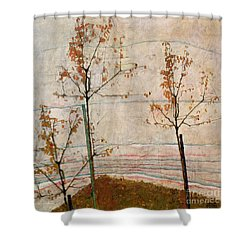 Autumn Trees Shower Curtain by Egon Schiele