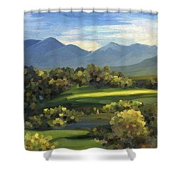 Shower Curtain featuring the painting Autumn Trees by Ivana Westin