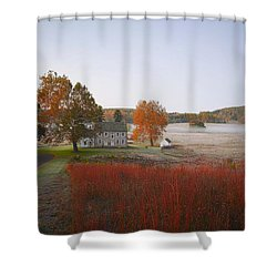 Shower Curtain featuring the photograph Autumn Walk In Valley Forge by Bill Cannon