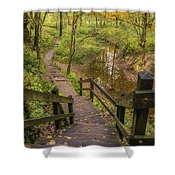Autumn Walk Maquoketa Caves Shower Curtain