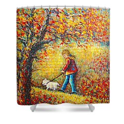 Shower Curtain featuring the painting Autumn Walk  by Natalie Holland