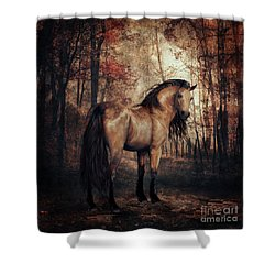 Shower Curtain featuring the digital art Autumn Walk by Shanina Conway