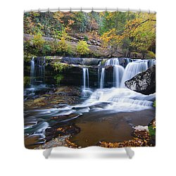 Shower Curtain featuring the photograph Autumn Waterfall by Steve Stuller