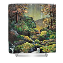 Shower Curtain featuring the painting Autumn Waterfalls by Lou Ann Bagnall