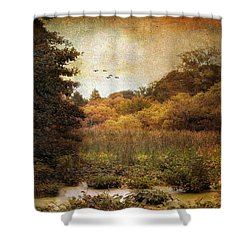 Autumn Wetlands Shower Curtain by Jessica Jenney