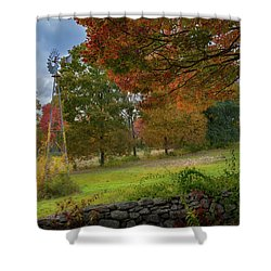 Shower Curtain featuring the photograph Autumn Windmill by Bill Wakeley