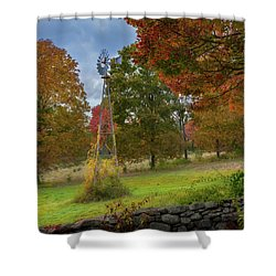 Shower Curtain featuring the photograph Autumn Windmill Square by Bill Wakeley
