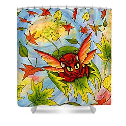 Autumn Winds Fairy Cat Shower Curtain