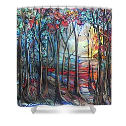 Autumn Woods Sunrise Shower Curtain