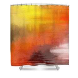 Shower Curtain featuring the digital art Autumnal Abstract  by Shelli Fitzpatrick